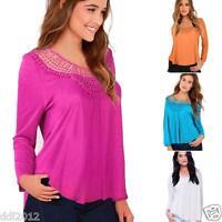 Fashion Womens Long Sleeve Shirt Casual Lace Blouse Loose Cotton Tops T Shirt