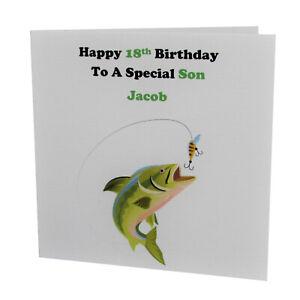 HANDMADE - PERSONALISED Fishing MALE BIRTHDAY CARD