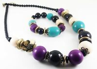 STATEMENT NECKLACE AND BRACELET SET CHUNKY ANTIQUE BRONZE AND COLOURED BEADS