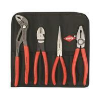 KNIPEX Plier and Cutter Tool Roll 4pc Cobra 250mm, Combo, Snipe, Diagonal 200mm