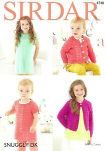 Sirdar Double Knitting Pattern 4748, Dress and Cardigans from Birth to 7 Years
