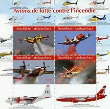 Madagascar Aviation Stamps 2020 MNH Firefighting Aircraft Helicopters 4v M/S