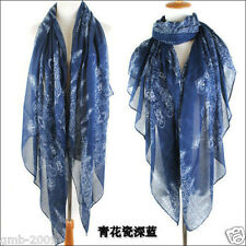Fashion Dark Blue Porcelain Voile Cotton Scarf Wrap Ladies Shawl Large Scarve