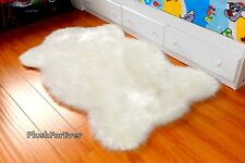 "Premium Faux Shag Rugs 72"" Luxury Sheepskin Area Rug Plush Nursery White"