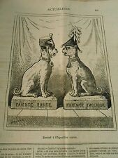 Caricature 1878 - Exhibition Canine Dogs Earthenware Russian and English