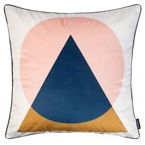 Geometric Cushion Mustard Yellow Navy Blue Blush Pink Cover Sofa Top 45cm 18in