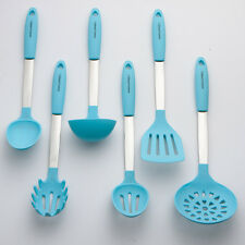 New Blue Cooking Utensil Set - Stainless Steel & Silicone Heat Resistant Kitchen