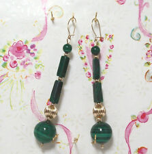Malachite With 14K Gold Earrings. 3.25 Inches Long. MC14K006
