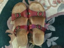 Taos Red Strappy Slide Sandals Buckles  Women's Size 8