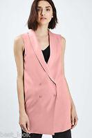 Topshop Longline Sleeveless Blazer Jacket Dress in Dusky Pink Size 4 to 16