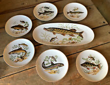 Fish Platter with 6 Plates 7 Piece Set Israel Naaman NAA11 337764 Crol Antique