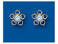 Blue Topaz Stud Earrings 9 Carat Yellow Gold Heart Design Studs Natural Stones
