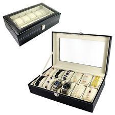 12 Slot Watch Bracelet Leather Display Organizer Glass Top Jewelry Box Storage
