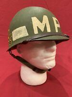 ORIGINAL US Army MP Helmet - Rear Seam Swivel Bale Steel M1 Helmet