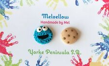 Cookie Monster studs Melvellous earrings handmade polymer clay