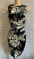 Black Grey Floral Ruch Front Wiggle Pencil Smart Office Shift Dress Size 8-18