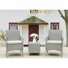 3 Pieces Rattan Patio Garden Furniture Set 2 Armrest Sofa 1 Coffee Table Outdoor