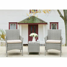 New Listing3 Pieces Rattan Patio Garden Furniture Set Cushioned Chairs Sofa Coffee Table