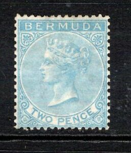 Bermuda QV 1865-1903 (Wmk CC, p14) 2d. Dull Blue SG3 Mint No Gum Cat £475