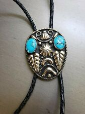 VINTAGE WESTERN SIGNED  ALPACA MEXICO  MENS BOLO TIE WITH TURQUOISE BLACK CORD