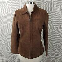 Bernardo Size Small Petite Genuine Suede Leather Jacket Coat Zip up Brown career