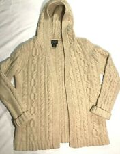 Abercrombie & Fitch Mens Merino Wool Cable Knit Fisherman Sweater Size L Hood