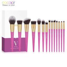 Docolor Professional Makeup Brush Set 14 Pcs Brow Foundation Blush Eyeshadow Lip