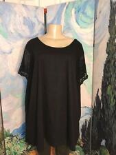 WOMAN WITHIN PLUS 3X NEW SOLID BLACK SCOOP NECK CROCHET SHORT SLEEVE TUNIC TOP
