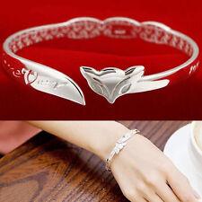 Bangle Chain Bracelet New Women Jewelry 925 Sterling Silver Fox Cuff Charm