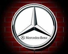 MERCEDES LARGE LED 2FT ILLUMINATED GARAGE WALL LIGHT BADGE SIGN LOGO EMBLEM
