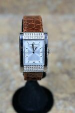 *Boucheron Diamond Stainless Steel Case Leather Band Ladies Watch PreOwned BIN