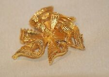 Ribbon Swirl Textured Pin Brooch Nwot Vintage Usner Signed Gold Tone Pretty Bow