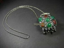 N3981 FASHION TIBET agate stones SNUFF bottle tribal Gypsy Necklace NEPAL Runway