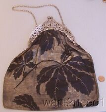Antique Edwardian FANCY SILVER OPENWORK FRAME Metallic Nouveau Fabric Purse