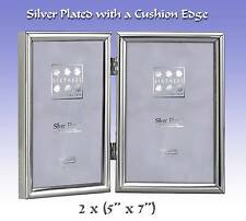 """Silver Plated Double Photo Frame with a Cushion Edge.2x(7x5"""") (2-410-05)"""