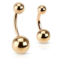 Rose Gold Plated Surgical Steel Belly Bar / Navel Ring - Various Sizes Available