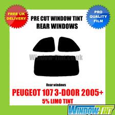 PEUGEOT 107 3-DOOR 2005+ 5% LIMO REAR PRE CUT WINDOW TINT