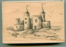 Inkadinkado rubber stamp Sand Castle wood mounted, Beach