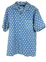 Nat Nast Luxury Originals Mens Blue Plaid Short Sleeve 100% Silk Shirt Sz M