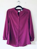 East Mulberry Purple Buttoned Ahirt Top Blouse Size 8 A1016