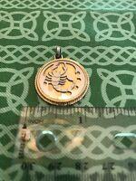 Scorpio Zodiac Astrology Gold Tone Circular Necklace Pendant Free Shipping