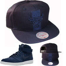 Mitchell & Ness Chicago Bulls Snapback Hat Air Jodan Retro 1 High Strap Navy Cap