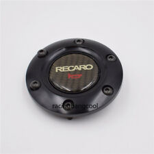 RECARO Carbon Fiber Racing Steering Wheel Horn Button Cover+Black Aluminum Edge