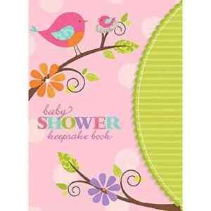 Tweety Baby Girl Bird Pink Green Cute Modern Baby Shower Party Keepsake Book