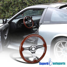 "13.5"" 340mm Classic Polished Aluminum 3-Spoke Wood Grain Drifting Steering Wheel"