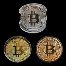 3 x Bitcoin Münze Sammler Geschenk Münze Kunst Sammlung Gold Silber Kupfer