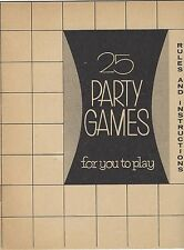 1952 25 Vintage Party Games Magic Tricks Instructions Red Hot Peanut Blow Winkum