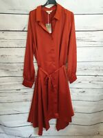 Anthology Burnt Orange Long Sleeve Button Front Satin Dress Size 22 New With Tag
