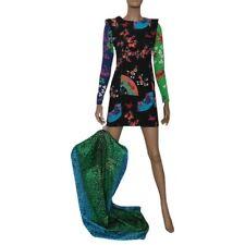 VERSACE FOR H&M Japanese Print Tunic Mini Dress Sz 6 Long Sleeve Silk Multi DEK