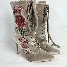 Cape Robbin Mini 108 Nude Women's Embroidered Lace Up Boot Size 10